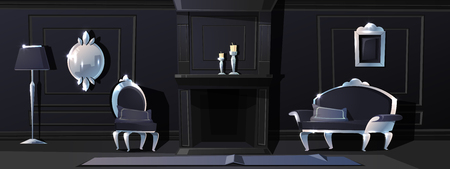 Vector cartoon luxury living room in black colours with fireplace. Rich ballroom or hallway with silver moldings, sofa and carpet. Expensive interior with furniture in baroque or rococo style.