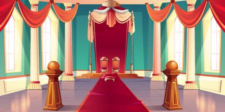 Castello medievale o palazzo reale spaziosa, soleggiata sala del trono o sala da ballo vuota interna con re e regina troni dorati in piedi su piedistallo sotto il baldacchino con illustrazione vettoriale di cartone animato di pelliccia di ermellino Vettoriali