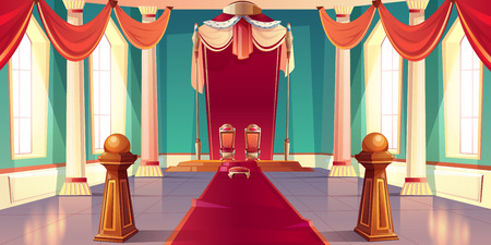 Medieval castle or royal palace spacious, sunny throne room or ballroom empty interior with king and queen golden thrones standing on pedestal under canopy with ermine fur cartoon vector illustration Stock fotó - 114934767