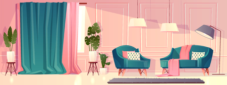 Vector cartoon illustration of luxury living room in pink color. Rich ballroom with moldings, armchairs and lamps. Expensive interior with curtains and furniture in baroque or rococo style.