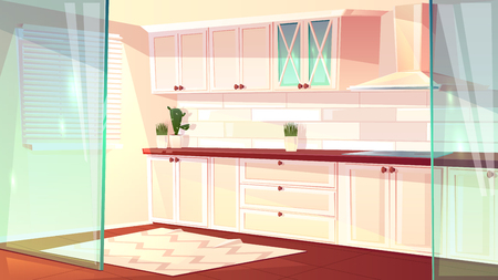 Vector cartoon illustration of empty bright kitchen in white color. Spacious cooking room with exhaust hood and oven. Cozy carpet on wooden floor, glass walls. Cupboard and shelves for dishes. Vectores