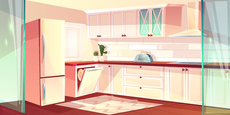 Vector cartoon illustration of bright kitchen in white color. Fridge, oven and exhaust hood in cooking room. Carpet on wooden floor, glass doors. Cupboard and dishwasher in corner.