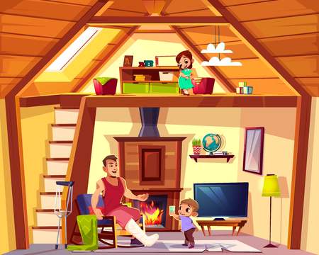 Vector cartoon interior of house with family. Disabled father with helping son in living room. Girl is on attic, lounge. Duplex background. Cross section of home, crest. Furniture, fireplace in hall. Illustration