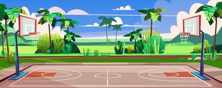 Wektor kreskówka tło boisko do koszykówki na ulicy. Zielona trawa, pole z zewnętrzną areną sportową. Plac zabaw dla zawodów, mistrzostw. Dzień tło z zwrotnikowymi palmami i błękitnym niebem.
