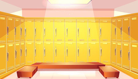 Vector cartoon school wardrobe, changing room. Background with bright yellow lockers for football or basketball team at college, university. Individual dressers. Illustration