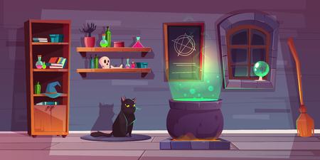 Fond de jeu de vecteur de maison de sorcière avec le chat noir, trucs pour la magie. Des étagères avec des potions, un grand chaudron et un balai pour voler. La toile de fond de la quête des sorcières, de l'horreur et des charmes.