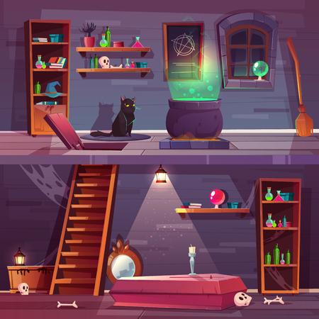 Vektorspielhintergrund des Hexenhauses mit Keller. Keller mit Luke, Sarg und Knochen im Gewölbe. Sachen für Magie und schwarze Katze. Regale mit Tränken, großer Kessel. Die Kulisse für die Suche.