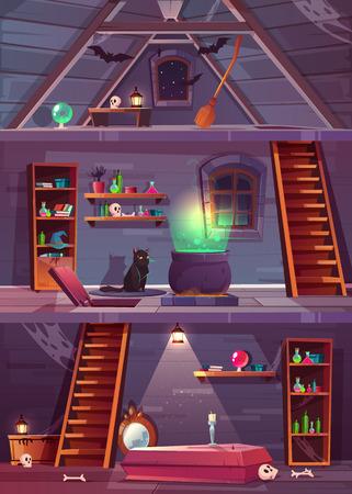 Coupe de vecteur de maison de sorcière avec cave et grenier. Sous-sol avec trappe, cercueil et ossements en voûte. Grenier à chauves-souris, balai. Des trucs pour la magie, le chat et le grand chaudron. Fond de jeu pour la quête.