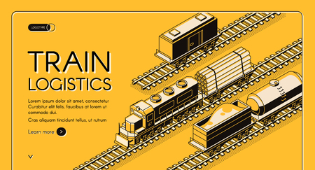 Railroad industrial transport company isometric vector web banner, landing page. Locomotive transporting platform with wood logs or pipes, freight wagons and tank car on rails line art illustration