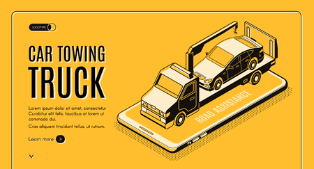 Car towing truck online service isometric vector web banner. Flatbed truck with crane carrying car on smartphone screen line art illustration. Road assistance company mobile application landing page