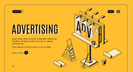 Advertising agency isometric vector web banner. Ladder, bucket with glue and partially glued banner on street billboard line art illustration. Outdoor advertising, promo campaign landing page template Иллюстрация