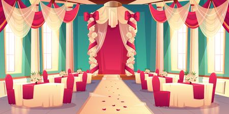 Salón de banquetes, salón de baile en el castillo listo para el interior del vector de dibujos animados de la ceremonia de la boda Flores decoradas y arco de la boda de tela satinada, pétalos de rosa en las mesas de comedor de alfombra Fondo de celebración de matrimonio Ilustración de vector