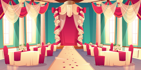 Banquet hall, ballroom in castle ready for wedding ceremony cartoon vector interior Decorated flowers and satin fabric wedding arch, rose petals on carpet dining tables Marriage celebrating background