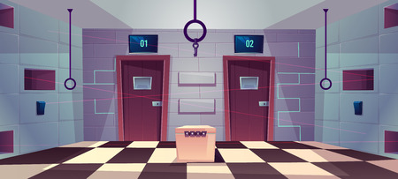 Vector cartoon background of quest room with closed doors, riddles and puzzles for people. Stand with conundrum, keys and elements for modern game, escape concept. Lasers from walls, tile floor. Ilustrace