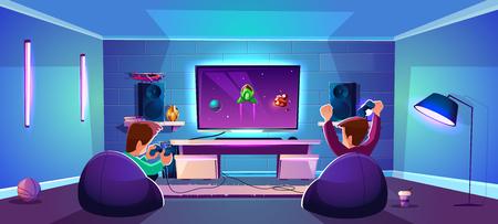 Vector speelkamer met mensen die digitaal entertainment spelen, modern esports-concept. Nachtstroom met vrienden in neonlicht in club, lounge. Joysticks, gamepads en spelers in gezellige fauteuils.
