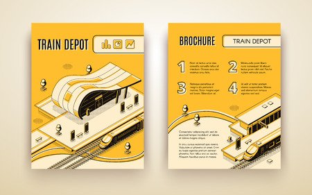 Railway transport company isometric vector advertising brochure, promotional leaflet or annual report pages template with high-speed passenger locomotive stopped in modern train depot illustration Vectores