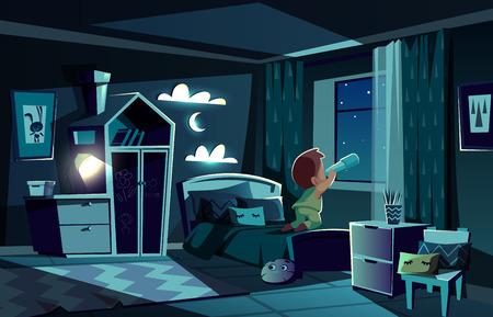 Sala de noche de vector con niño mirando estrellas por catalejo, telescopio. Dormitorio a la luz de la luna, lugar para niños con armario, luz de noche y nubes en las paredes. El bebé observa el cielo. Interior acogedor. Ilustración de vector