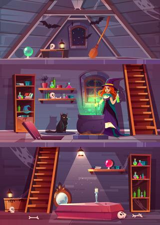 Vektorquerschnitt des Hexenhauses mit Keller und Dachboden. Hübsche Zauberin mit Sachen für Magie, Katze und Kessel. Keller mit Sarg und Knochen. Dachboden mit Fledermäusen, Besen. Spielhintergrund für Quest.