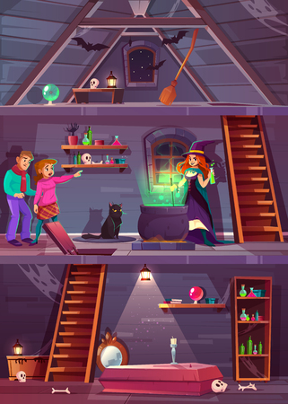 Vektorquerschnitt des Hexenhauses mit Keller und Dachboden. Quest-Spiel, RPG-Hintergrund mit Spielern, junge Leute treffen magische Zauberin und Katze. Keller mit Sarg und Knochen. Dachboden mit Fledermäusen, Besen.