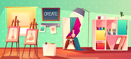 Vector art studio interior. Creative workshop room with canvas, paints and pictures. Design salon for artists with brushes, easel. Still life drawing in bright class with window, hobby.