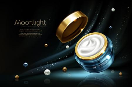 Maquette de publicité cosmétique réaliste 3d vectorielle - crème de nuit en pot, cosmétiques de luxe. Essence hydratante avec perle dans un récipient en verre bleu de marque, capuchon doré. Produit de soin sur fond sombre Vecteurs