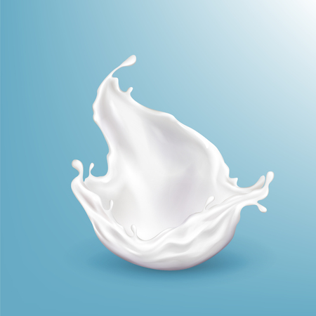 Vector 3d realistic milk splashing, bright beverage isolated on blue background. Healthy food, dairy product. Fresh drops of creamy liquid. The object for ad poster, promo banner of yogurt. Illustration