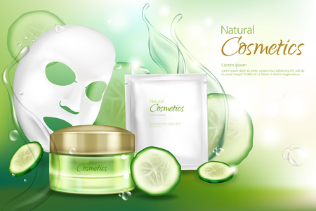 Vector 3d realistic banner with white sheet facial cosmetic mask, cucumber cosmetics.Ad poster with water splashes, moisturizing cream with vitamins, natural vegetable essence. Mockup for promo poster