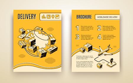 Modèle de brochure vectorielle pour l'expédition dans le monde entier, livraison aérienne. Planète isométrique 3D avec colis, courrier et avion. Livret en ligne fine, logistique de transport. Fond jaune avec des boîtes, des avions