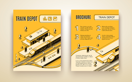 Vector brochure template for train depot. 3d isometric vehicle on railroad and station. Booklet in thin line style, transport logistics. Yellow background with terminal for high-speed subway. Ilustración de vector
