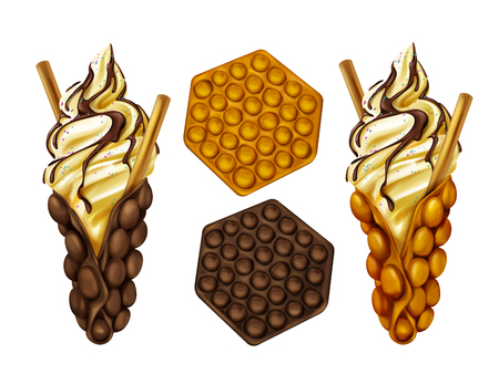 Hong Kong egg bubble waffles plain and served with biscuit in ice-cream, poured chocolate topping and sprinkles realistic vector isolated on white background. Popular street food bakery illustration Illustration