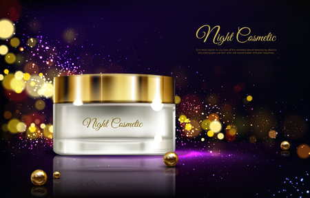 Vector 3d realistic advertising mock up - night cream in jar, luxury cosmetics. Moisturizing essence with pearl in branded glass container, golden cap. Skincare, hygiene product on blurred background. Illustration