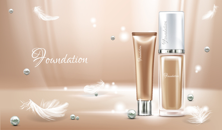 Vector 3d realistic poster with concealer, beige cosmetics product in glass package and feathers. Light on foundation with pearls for women. Mock up, template of cosmetic isolated on background.