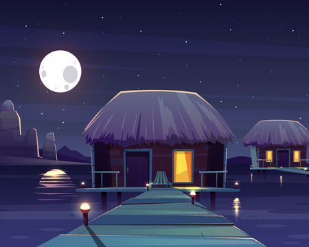 Vector cartoon background with rich hotel on piles at night. Living apartment on pillars, tropical resort on island, full moon backdrop. Hostel in sea, ocean with chaise lounge, deck chair.Summer rest Çizim