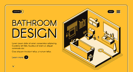 Home construction company, interior design atelier, plumbing shop isometric vector web banner or landing page template. Modern compact combined bathroom cross section interior line art illustration Çizim