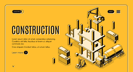 Construction company isometric vector web banner with tank truck, forklift carrying cargo and tower crane working on construction site line art illustration. Investment project landing page template Illustration