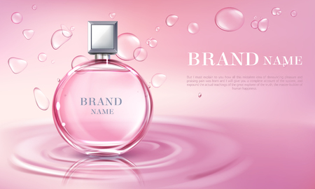 Vector 3d realistic poster, the banner with perfume bottle on the water surface. Shiny glass container with pink liquid. Cosmetic background for ad poster, promo banner. Floral essence, mock up.