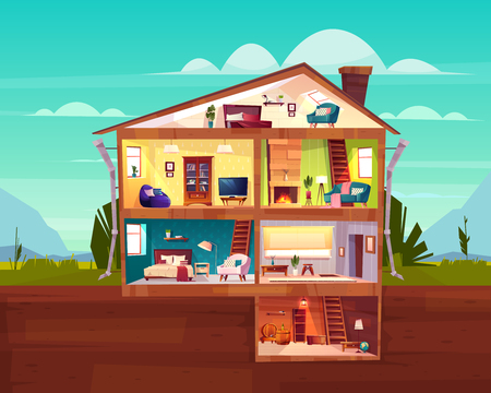 Two-storey cottage house cross section interior cartoon vector with spacious hall, fireplace in comfortable living room, bedroom on attic and wine cellar in basement illustration. Real estate concept Illustration