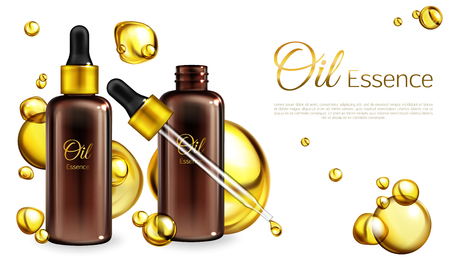 Vector 3d realistic oil essence in brown glass bottles with a pipette. Yellow liquid in droplets, spots on white background. Oily cosmetics for ad poster, promo banner. Natural vitamins in cosmetic.
