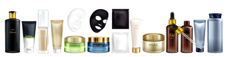Vector 3d realistic big collection of cosmetic products - shampoo, moisturizing mask, foundation and others. Skincare set isolated on white background. Natural cosmetics for men and women, mock up. Ilustração