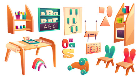 Vector montessori set, elements for elementary school isolated on white background. Kindergarten for infants, daycare for kids. Primary education in game, activity. Preschool classroom with chalkboard
