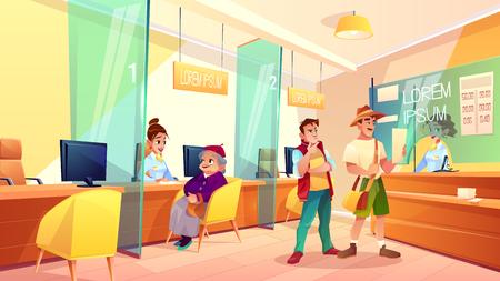Bank-Empfangsbereich-Cartoon-Vektor. Oma spricht mit Finanzberater, Kunden stehen in der Schlange, tauschen Währung in der Registrierkassenillustration. Altersvorsorge, Einzahlung im Bankkonzept