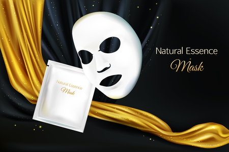 Vector 3d realistic mock up of white sheet facial cosmetic mask for women, lux concept with black background and golden fabric, cloth. Skincare product for face. Background with moisturizing cosmetics