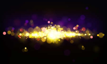 Vector abstract background with shining elements, bright lights, bokeh effect. Cluster of golden stars on dark backdrop, glowing or explosion. Realistic sparkles, glitter or illuminated dust.