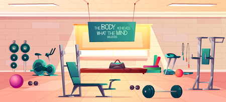 Sport club gym spacious interior cartoon vector with various fitness equipment and machines for body workout, exercise with weights and motivational slogan on signboard illustration. Healthy lifestyle Çizim
