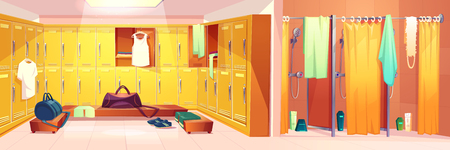 Vector gym interior - changing room with lockers and shower cabins with curtains. Sport club concept - dressing after training and washing. Cartoon shelves with clothes, towels. Illustration