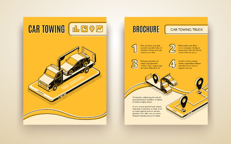 Car towing company, road assistant, car repair service isometric vector advertising brochure or booklet page template. Flatbed truck on smartphone screen transporting broken car line art illustration Vektorgrafik