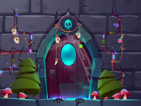 Magische ingang of portaal in de cartoonvector van de fantasiewereld Mystieke amuletten en drankjes die aan houten deuren in stenen muur hangen met mysterieus handschoenenlicht dat uit de openingenillustratie schijnt. Quest kamer