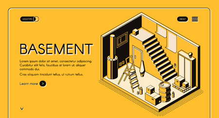 House architect, design company isometric vector web banner, landing page template. Basement cross section interior with pantry under stairs, cardboard boxes, ladder and boiler line art illustration Illustration