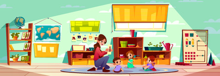 Female teacher of montessori kindergarten or pre-primary school studying alphabet letters with group of little children siting on carpet cartoon vector illustration. Early childhood education concept