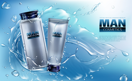 Vector 3d realistic cosmetics for men in water splashing. Ad poster, promo banner with grey jar with lotion, tube with cream.Mockup with label of moisturizer, skincare. Bottle with shaving liquid
